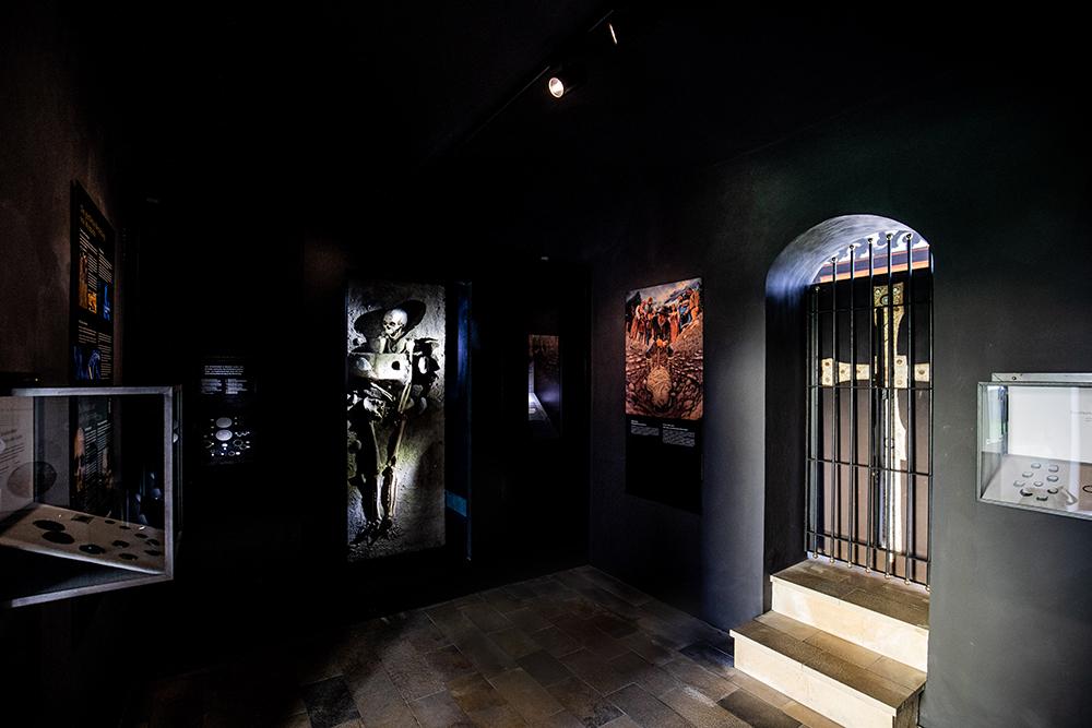 """Seit kurzem ist die """"gepfählte Bestattung"""" von Molzbichl im Museum zurück und in einer erstmals in Österreich angewendeten Ausstellungstechnik zu sehen © Museum Carantana/H. Weichselbraun"""