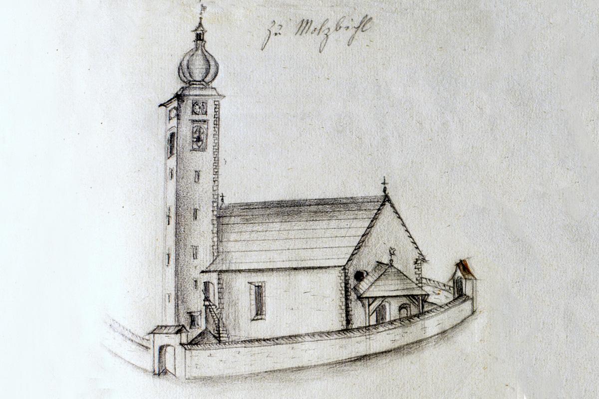 St. Tiburtius in Molzbichl, Bleistiftzeichnung um 1800